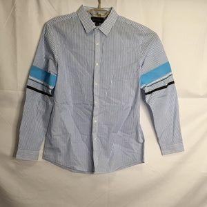 International Concept Striped Button Down Shirt